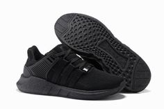 Unisex Adidas Eqt Support 93 17 All Black Trainers - Click Image to Close