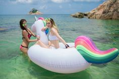 "Amazon.com: Giant Inflatable Unicorn Pool Float 108"" - 275cm Outdoor Swimming Pool Large Floaty Lounge For Adults & Kids: Toys & Games"