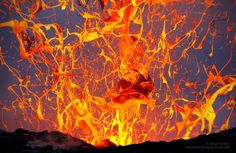 Hawaii, USA -A wild, airborne abstract created by an exploding lava bubble.