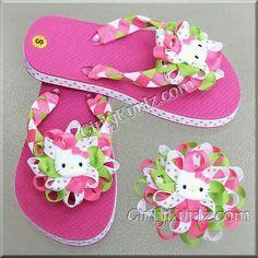Pink Hello Kitty Woven Flip Flops Kid Flip Flops by GirlyKurlzGirly Kurlz ~ Hair Bows, Hair Accessories, Flips Flops, and more! Ribbon Flip Flops, Cute Flip Flops, Kids Flip Flops, Diy Hair Bows, Handmade Hair Bows, Hello Kitty Rosa, Flip Flop Craft, Crochet Flip Flops, Flip Flop Sandals