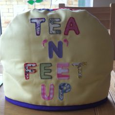 Tea and feet up appliqued, padded tea cosie by Em Teacup
