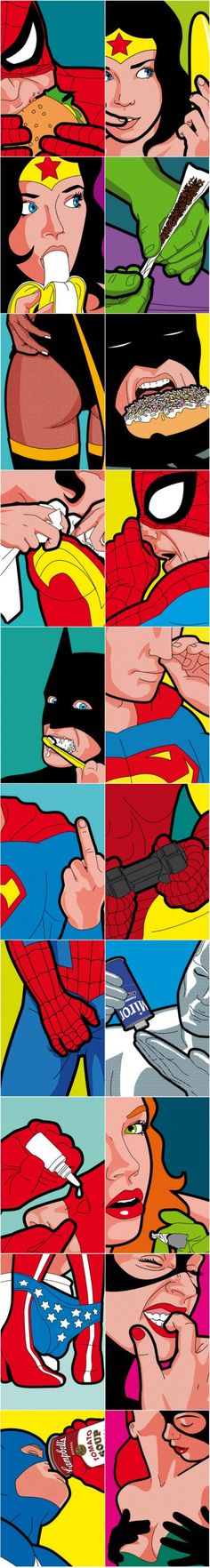 Secret Life of Super Heroes. Pop Art by Greg Guillemin. Marvel Vs, Marvel Dc Comics, Comic Books Art, Comic Art, Pop Art, Comic Manga, Animation, Arte Pop, Geek Art