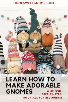 Diy Embroidery Projects, Hand Embroidery Patterns Free, Easy Diy Crafts, Creative Crafts, Fun Crafts, Craft Projects, Sewing Projects, Craft Ideas, Christmas Gnome