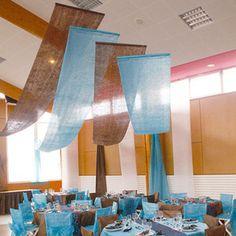 LOT DE 5 Tentures Turquoise Décoration Salle Fête Déco Mariage Bapteme Luxe | eBay