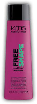 KMS California Freeshape Conditioner 8.5 oz / 250 ml    conditioning and preparation for heat styling    Speeds up drying time up to 50%. Reduces friction while conditioning lightly. Provides heat protection.