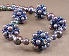 Cindy Holsclaw, purple and silver pearl beaded bead