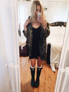 Going out with friends tonight, this is what I'm wearing :') Brandy Melville dress, Topshop jungle coat, AA thigh socks, Hunter rain boots, Topshop bag