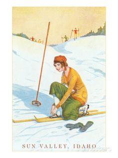 Sun Valley, Idaho, Lady Skier Fixing Bindings Photo at AllPosters.com
