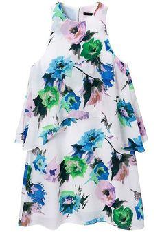Multicolor Floral Round Neck Loose Cotton Blend Dress