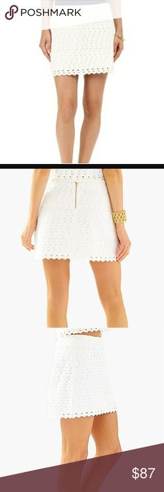 """Lilly Pulitzer  White Tate Skirt Current Eyelet Lilly Pulitzer Tate  Skirt Current Eyelet.. Size 12 NWT.  (Resort White). Waist:17.5"""" laying flat. Length:15.5"""" .Style #23489. Brand New With Tags.  100% Cotton Pattern: Eyelet Scalloped edge  Fully lined. Back Zipper. Lilly Pulitzer Skirts Mini"""