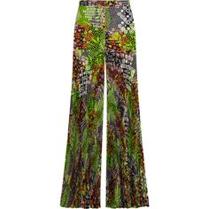 Versace Pleated floral-print silk-crepe wide-leg pants ($798) ❤ liked on Polyvore featuring pants, versace, trousers, lime green, high-waisted wide leg pants, high waisted trousers, see through pants, pleated wide leg pants and high waisted wide leg pants
