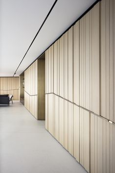 wood cladding and brass - Picture gallery - Tal Goldsmith Fish design Wood Cladding Interior, Wooden Wall Cladding, Cladding Design, Timber Cladding, Wooden Walls, Wooden Wall Panels, Stone Cladding, Lobby Interior, Interior Walls