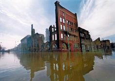 Grand Forks was flooded in April, 1997. These buildings are located downtown, closest to the Red River, and were destroyed by fire.
