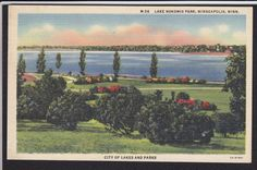Minneapolis-MN-Lake Nokomis Park-Linen Postcard | eBay