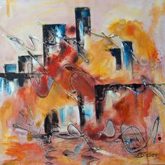 "Daily Painters Abstract Gallery: Abstract impressionist Cityscape, ""Skyline III"", by Arizona Artist, Sharon Sieben"