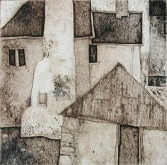 Hallsands collagraph print by Mike Glanville. A Collagraph print is created usin. Collagraph Printmaking, Arte Sketchbook, Monochrom, Landscape Art, Art Lessons, Home Art, Painting & Drawing, Abstract Art, Illustration Art