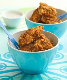 a new take on boneless wings, made with chicken breast pieces, fiber one cereal and bbq pop chips! wow!