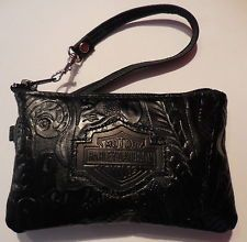 Harley Davidson Women's Embossed Floral Wristlet Purse Black New