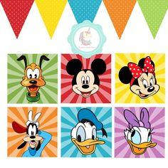 Arte Digital enviada em PDF para o seu e-mail. Para ser impresso em casa e ser utilizado em comemoração de aniversários como painel ou colocar na moldura para decorar o quarto. Bandeirola pode ser personalizada com nome. Disney Minimalista, Silhouette Mickey, Mickey E Minnie Mouse, Daisy Party, Mickey Clubhouse, Mini Mouse, Shirt Print Design, New Crafts, Disney Wallpaper