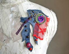 Fabric Brooch Contemporary Jewelry Scarf Pin Shawl by Elyseeart