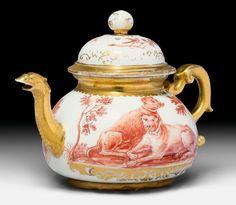 Rare Hausmaler tea pot, Meissen, ca. 1725. Painted by Abraham Seuter after an…