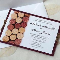 Wine Cork Wedding Invitation Vineyard by willowglenstationery
