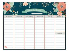 Vintage Floral Calendar Pad