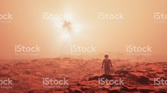Astronaut discovering alien UFO royalty-free stock photo