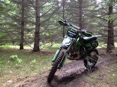2000 KX500 on single track in Huntersville state forest, Minnesota.