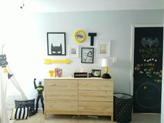 black white yellow modern superhero theme room