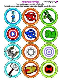 Click here to download FREE Avenger cupcake toppers!