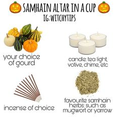 Altar in a cup Wicca Holidays, Samhain Traditions, Wicca Witchcraft, Wiccan, Magick Spells, Samhain Halloween, Baby Witch, Witch Decor, Season Of The Witch
