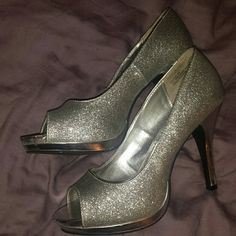 SPARKLY SILVER HEELS! 3 inch sparkle silver heels.  Worn for homecoming only once. Very comfortable  to walk in. 15% discounts on bundles. Rampage Shoes Heels