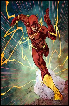 The Flash (Wally West) by Brett Booth with colors by Steve Ince. Flash Comics, Arte Dc Comics, Flash Characters, Dc Comics Characters, Kid Flash, Flash Art, Flash Wallpaper, Man Wallpaper, Brett Booth