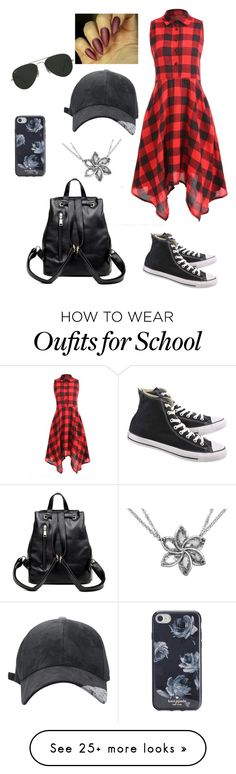 """Just another school day"" by triwizardchamp01 on Polyvore featuring Converse, Kate Spade and Ray-Ban"