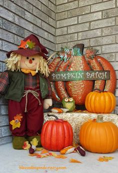Fall Porch Decor: Cute Pumpkin Patch with Glitter Pumpkin and Scarecrow! by Blessed Beyond Crazy