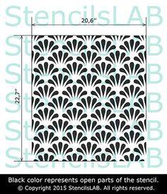 Modern Floral Pattern Wall Stencil.
