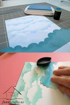 How to make a cloudy sky. Wonderful!!! - Nessa                                                                                                                                                                                 More