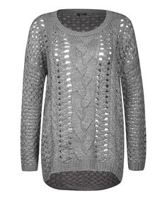 Gray Cable-Knit Scoop Neck Top