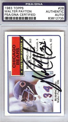 Walter Payton Autographed 1983 Topps Card  28 Chicago Bears PSA DNA   83812735 99ee41216de1
