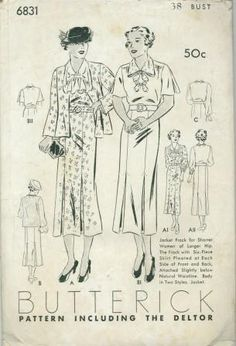 An original ca. 1936 Butterick pattern 6831.  Jacket frock for shorter women of larger hip.  The frock with six-piece skirt pleated at each side of front and back, attached slightly below natural waistline.  Body in two styles.  Jacket.