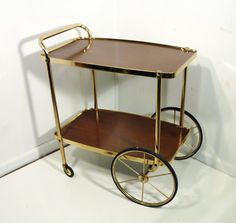 cosco+50s+portable+bar+cart+faux+wood+and+brass+mid+by+gillardgurl,+$475.00