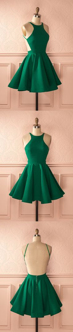 backless homecoming dresses, short homecoming dresses, green homecoming dresses, homecoming dress with pleats, 2017 homecoming #homecoming #greendress