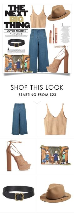"""""""Wide Denim Pants --- Girls' Night Out"""" by gitansafitri ❤ liked on Polyvore featuring TIBI, WithChic, Aquazzura, Love Moschino, rag & bone, Dolce Vita and widepants"""