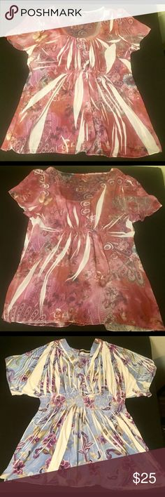 Bundle of 2 Simply Irresistible 1X Blouses. Two Multi colored  Floral print 100% Polyester And Spandex blouses. 21in in Chest and 30in Long. simply Irresitable Tops Blouses