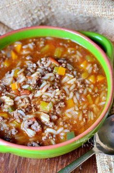 Stuffed Peppers Soup 1 from willcookforsmiles.com #soup #groundbeef #stuffedpeppers