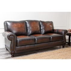 Abbyson Living Barclay Hand Rubbed Leather Sofa - Brown | from hayneedle.com