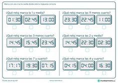 Ficha de destacar el reloj que se pide para primaria