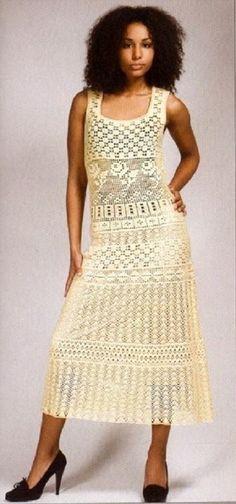 Бежевый сарафан крючком - Платье.Сарафан