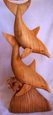 Wood Hand Carved Dolphins Sea Life Tropical Statue Nautical Carving Tiki